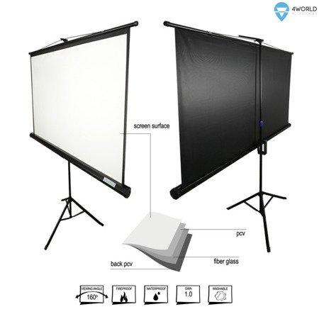 4World Ekran projekcyjny na statywie 221x124 (100'', 16:9) Matt White