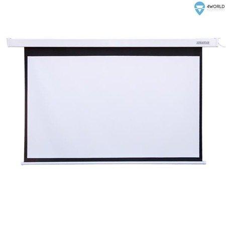 4World Elektryczny Ścienny/Sufitowy Ekran Projekcyjny z Pilotem 186x105 (16:9) Matt White