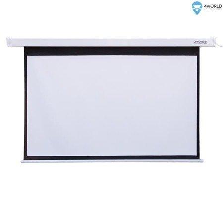 4World Elektryczny Ścienny/Sufitowy Ekran Projekcyjny z Przełącznikiem 221x124 (16:9) Matt White