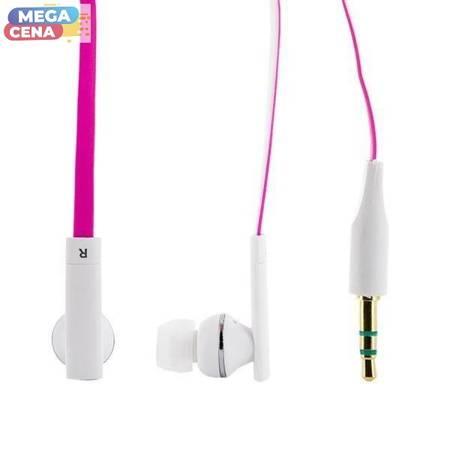 4World Słuchawki douszne MP3 Duocolor Flat, jack 3.5mm, długość kabla 1.2m, różowo- biały