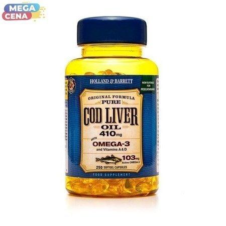 Olej z Wątroby Dorsza 410 mg dla Pescowegetarian 250 Kapsułek Żelowych
