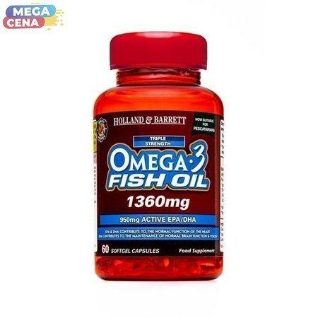 Potrójna Siła Omega-3 Olej Rybi 1360 mg dla Pescowegetarian 60 Kapsułek