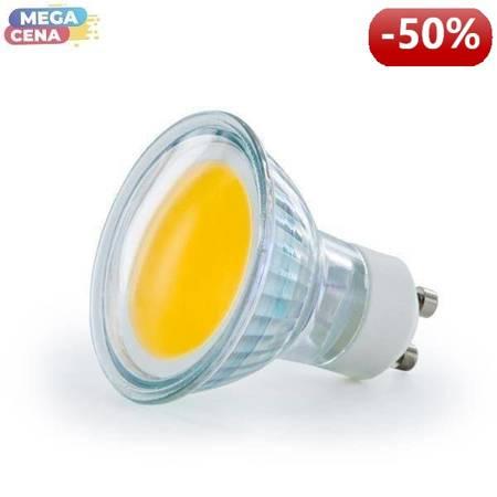 Whitenergy Żarówka LED 2.5W MR16 GU10 COB 230V ciepła / szkło