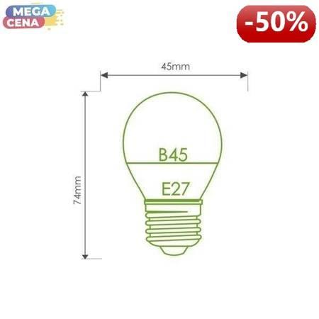 Whitenergy Żarówka LED 3W  E27 B45 210lm SMD2835 ciepła 220-240V  Kulka / mleczne szklane