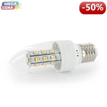 Whitenergy Żarówka LED 3W  E27 C35 SMD5050 ciepła 230V Świeczka / transparentne