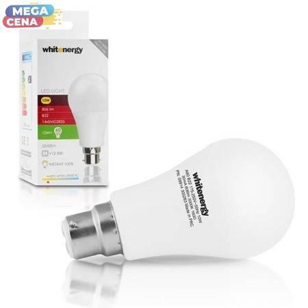 Whitenergy Żarówka LED A60 B22 10W 806lm Ciepła biała Mleczna