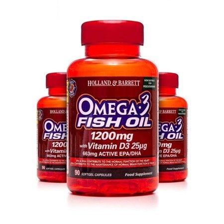 Zestaw 2+1 (Gratis) Kwas Omega-3 1200 mg z Witaminą D3 dla Pescowegetarian 90 Kapsułek Żelowych