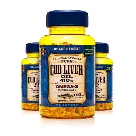 Zestaw 2+1 (Gratis) Olej z Wątroby Dorsza 410 mg dla Pescowegetarian 250 Kapsułek Żelowych