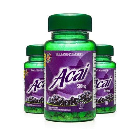 Zestaw Suplementów 2+1 (Gratis) Jagody Acai 500 mg 120 Tabletek