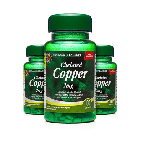Zestaw Suplementów 2+1 (Gratis) Miedź Chelat 2 mg 100 Tabletek