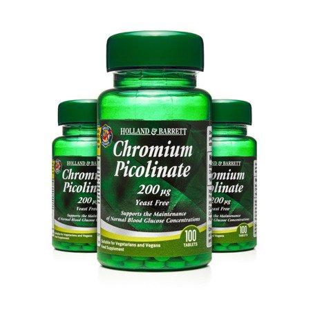 Zestaw Suplementów 2+1 (Gratis) Pikolinian Chromu 200 ug 100 Tabletek