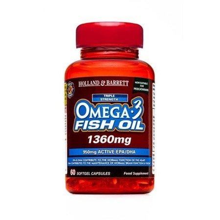 Zestaw Suplementów 2+1 (Gratis) Potrójna Siła Omega-3 Olej Rybi 1360 mg dla Pescowegetarian 60 Kapsułek