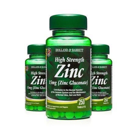 Zestaw Suplementów 2+1 (Gratis) Silnie Działający Cynk 15 mg 250 Tabletek