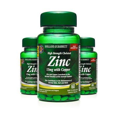 Zestaw Suplementów 2+1 (Gratis) Silnie Działający Cynk Chelat 15 mg z Miedzią 60 Tabletek