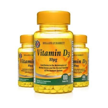 Zestaw Witamin 2+1 (Gratis) Witamina D3 10 ug 100 Tabletek