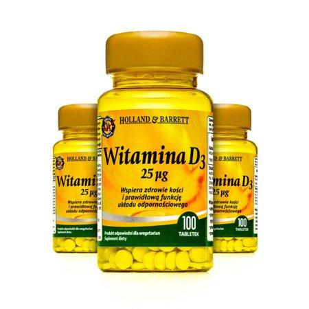 Zestaw Witamin 2+1 (Gratis) Witamina D3 100 Tabletek 25ug